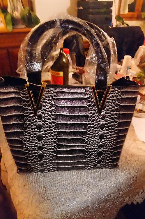 Sac style croco gris