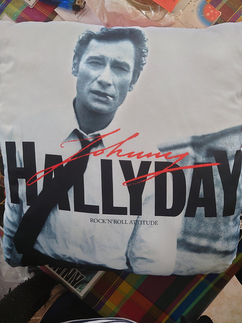 Coussin Johnny Hallyday blanc
