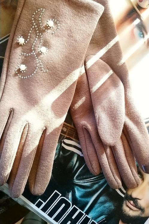 Gants marron perle