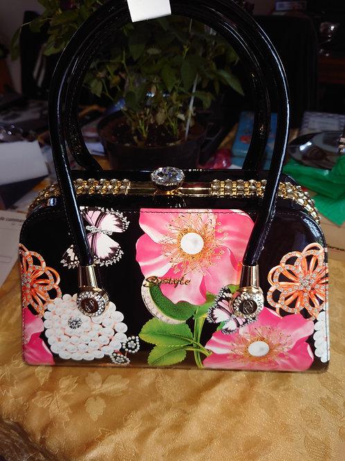Sac bijoux noir/fleurs
