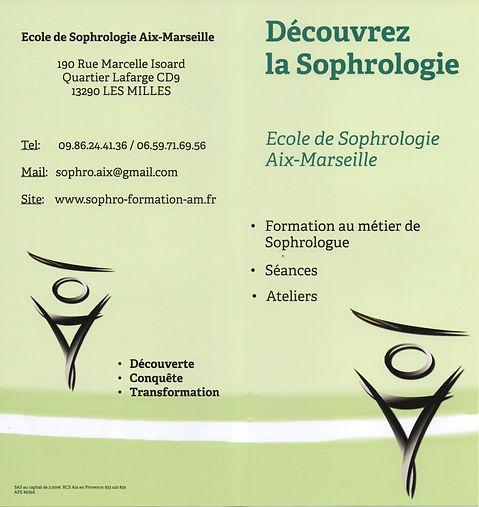 Brochure de l'école de sophrologie Aix-Marseille