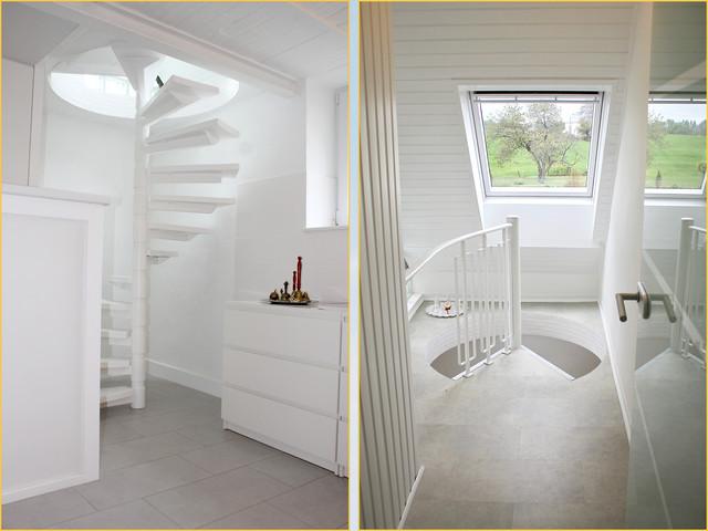 Escalier en colimaçon vers la maison d'hôtes