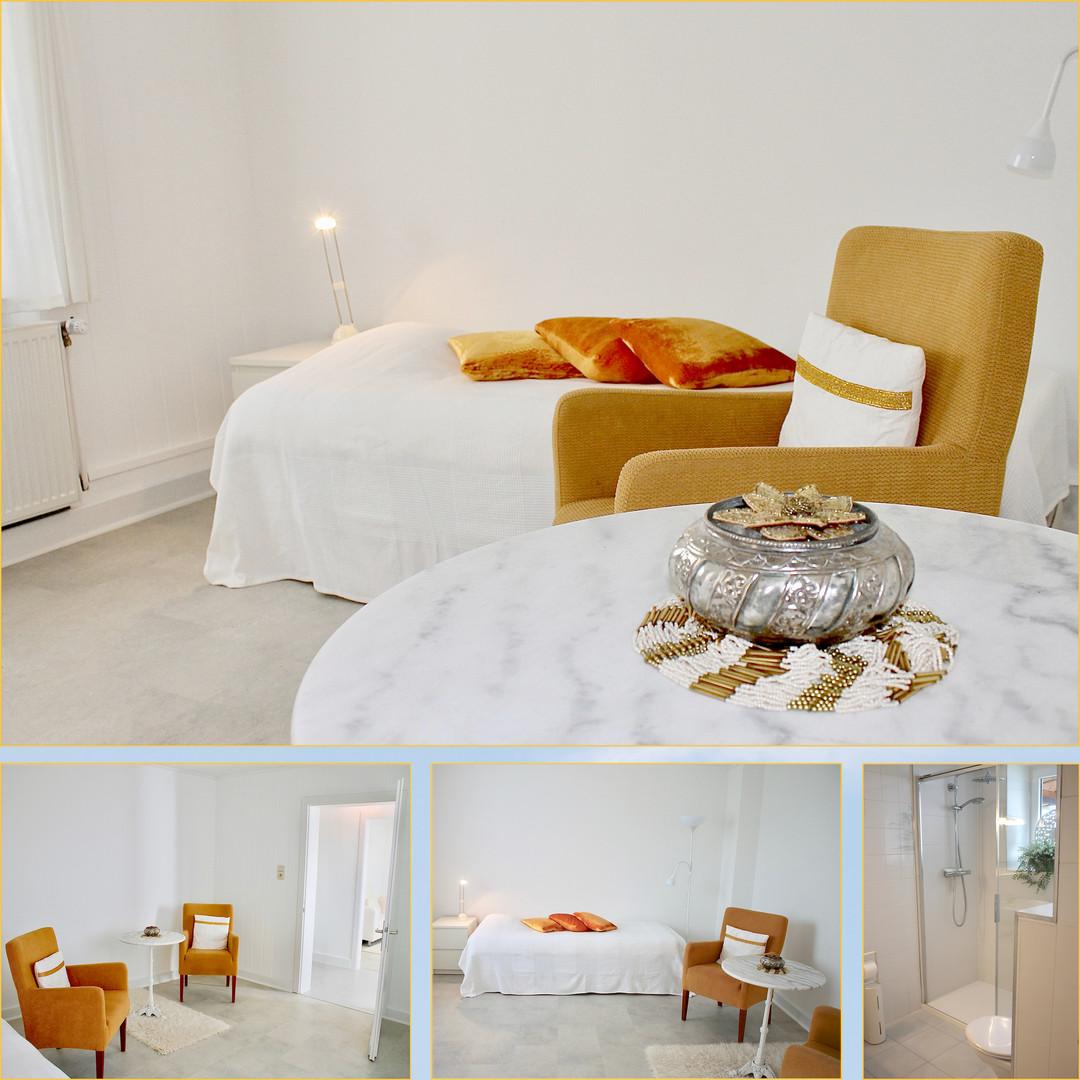 Slaapkamer en douche