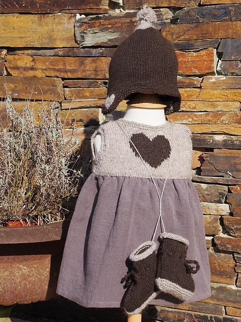 Ensemble Lucie A. (robe, bonnet, chaussons) - duvet peigné baby yak