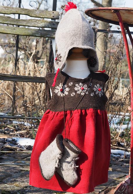 Ensemble Sonia et Robert D. (robe, bonnet, chaussons) - duvet peigné baby yak