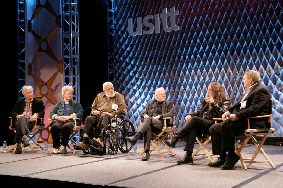 [From left to right: Timothy Hartung (Architecture), Rachel Keebler (Cobalt Studios), Desmond Heeley  (Costume and Scenic Design), Kevin Rigdon (moderator), Neil A. Mazzella (Technical Production), and Otts Munderloh (Sound).  Courtesy of USITT]