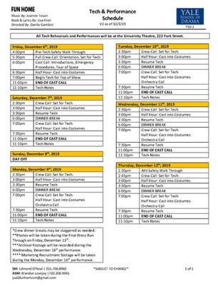Fun Home Tech Schedule