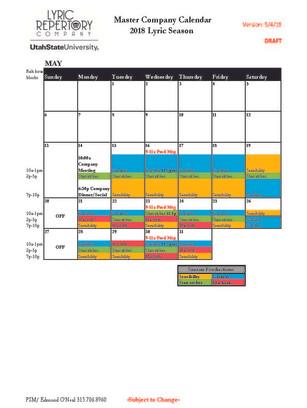 Lyric Calendar 2018