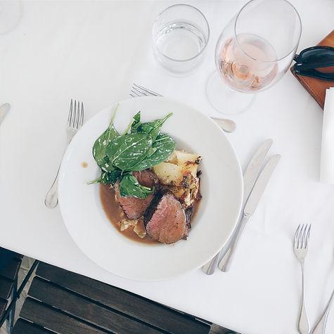 Steak and wine in hotel restaurant