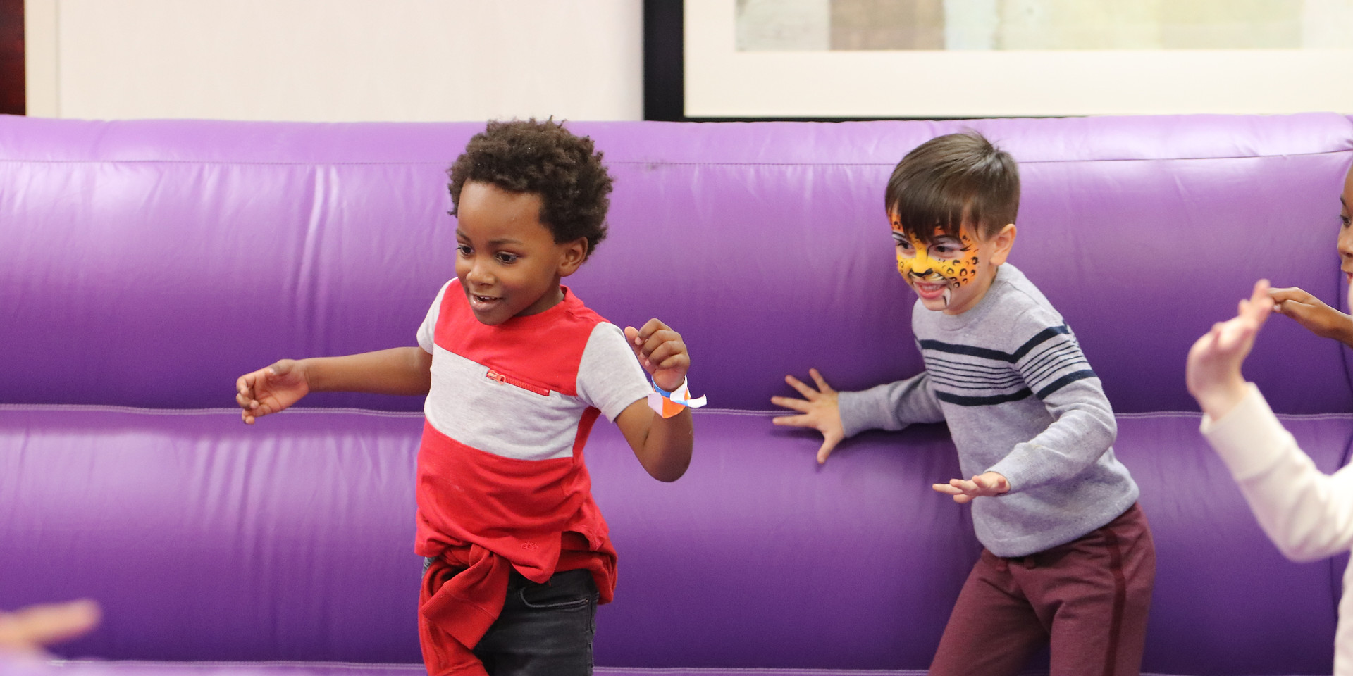 Children playing in the gaga ball pit at the 2019 Kids Holiday Festival