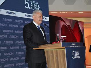 AK Parti Genel Başkanvekili Binali Yıldırım, ASKON İzmir Şubesinin Olağan Genel Kurulu'nda konuştu