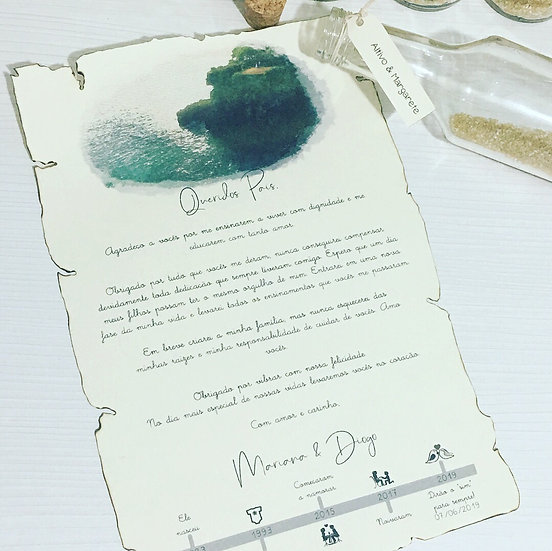 Convite Pergaminho na Garrafa - Pais & Avós