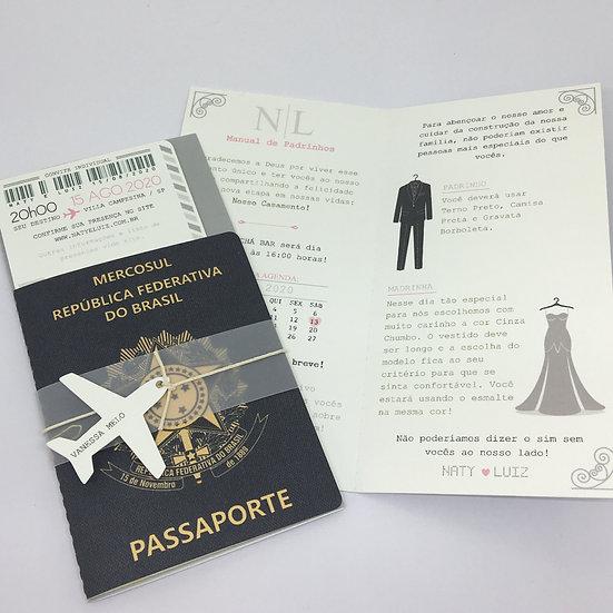 Convite Passaporte e Manual de Padrinhos