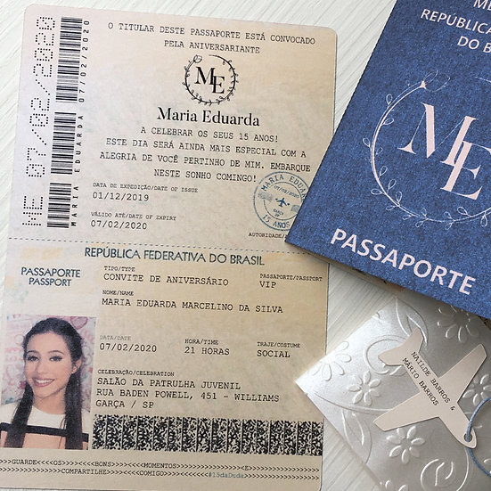 Convite Passaporte Debutante