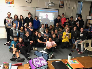 Middle School student skype session with Author Geoffrey Simpson about The Three Hares