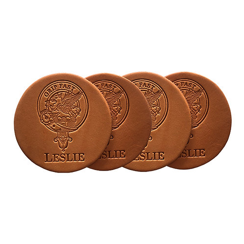 Clan Leslie Leather Coasters - Set of 4