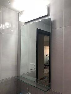 Mirror With UV Boned Glass Shelf