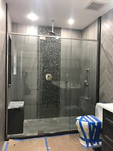Frameless Door With Two Inline Fixed Panels