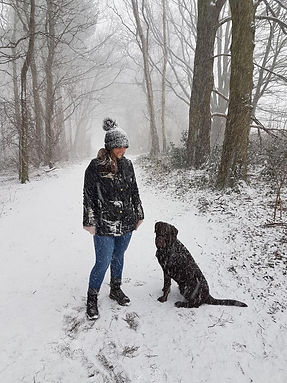 Zoe and Charlie on a snowy dog walk