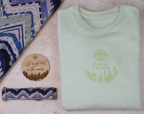 Blanket & Collar: Earth Retro Mountains Jumper: Let's Get Lost in the Woods Crew Neck in Pastel Green