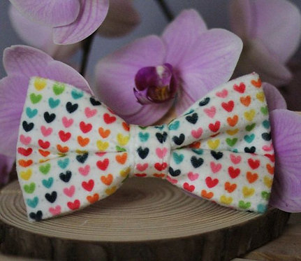 Rainbow Hearts Bow Tie & Collar Sleeves
