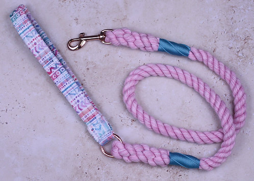 Watercolour Doodles Velvet x Cotton Rope Lead