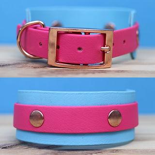 Pink and blue BioThane hound collar