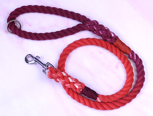 Wine to Orange Ombre Hand-dyed Cotton Rope Lead