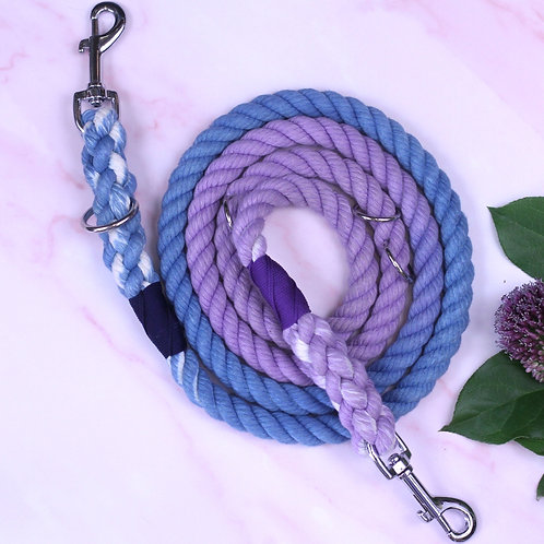Blue to Purple Ombre Hand-dyed Cotton Rope Lead