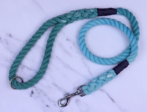 Teal Ombre Hand-dyed Cotton Rope Lead