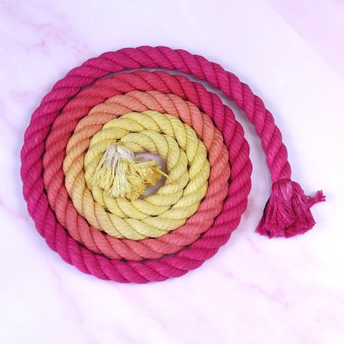 Pink to Yellow Ombre Hand-dyed Cotton Rope Lead