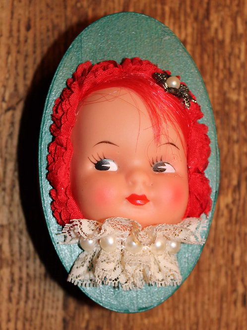 Doll Head Box - Turquoise and Red