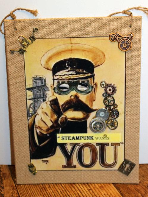 "Steampunk 9"" x 12"" Wall Decoration, OOAK"