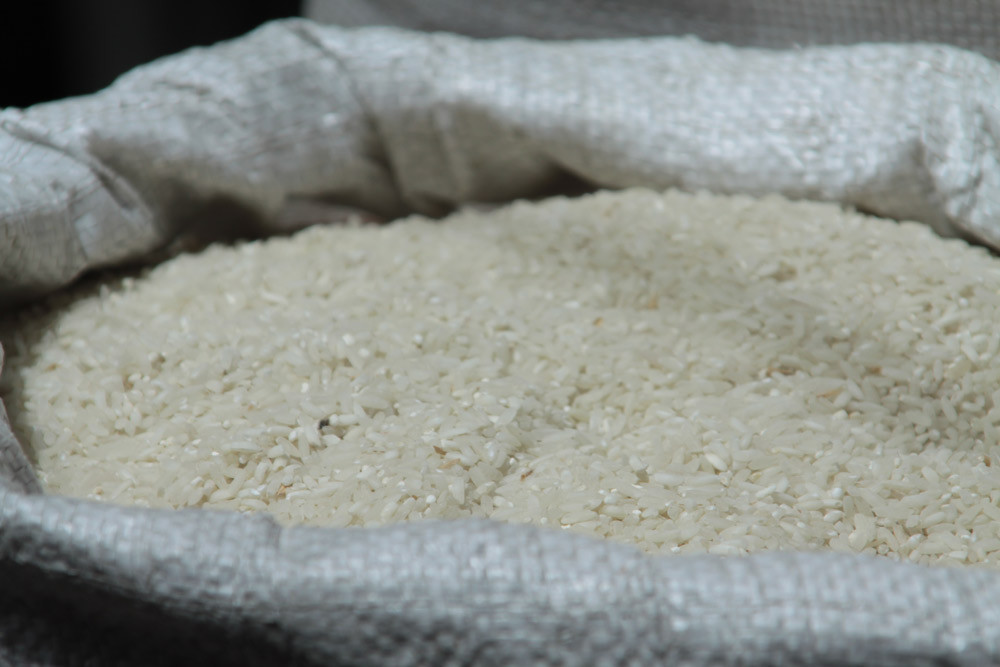 A large bag of white rice