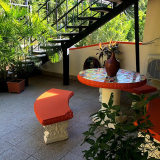 Open and green patio by the studio