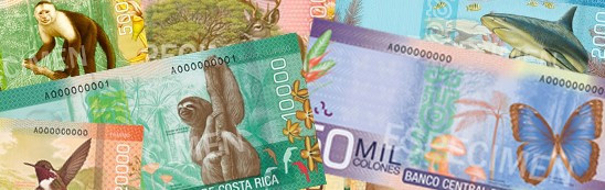 Costa Rican colones are very colorful and depict the natural treasures