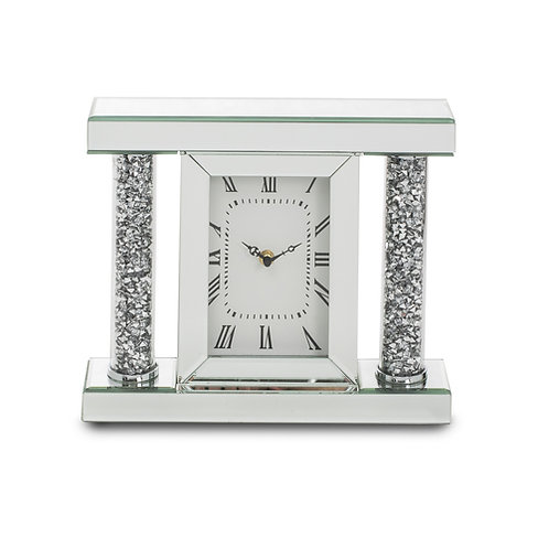 Crushed Glass Mirrored Table Clock