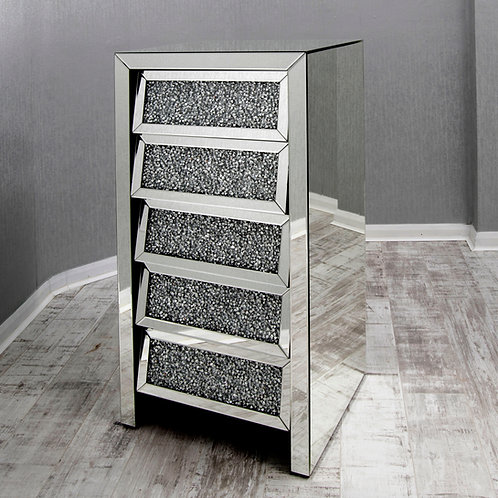 Crushed Glass Mirrored 5 Drawer Tallboy