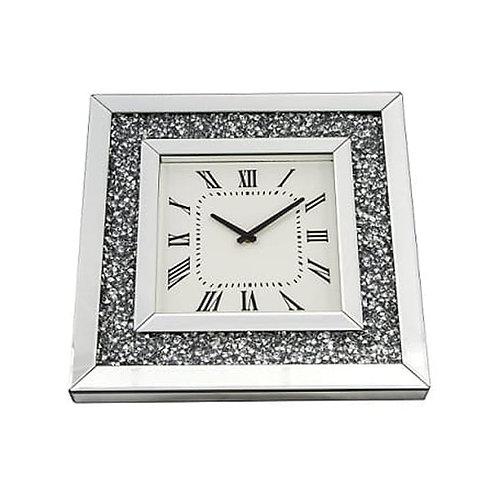 Crushed Glass Mirrored Wall Clock