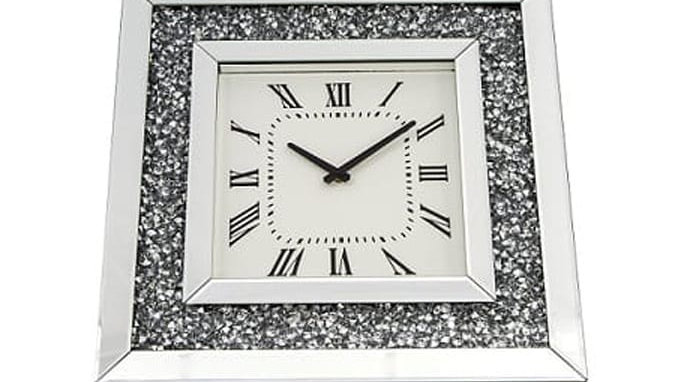 Crushed Glass Mirrored Wall Clock