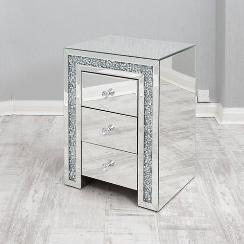Crushed Glass Mirrored Bedside