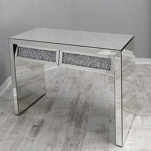 Crushed Glass Mirrored 2 Drawer Table