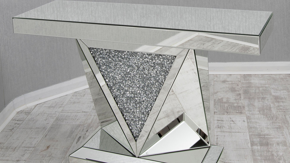 Crushed Glass Mirrored Console Unit