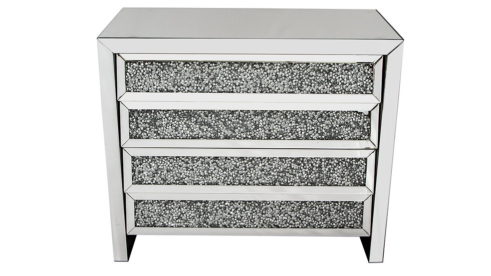 Crushed Glass Mirrored 4 Drawer Chest