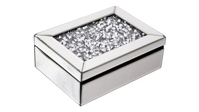 Crushed Glass Mirrored Jewellery Box