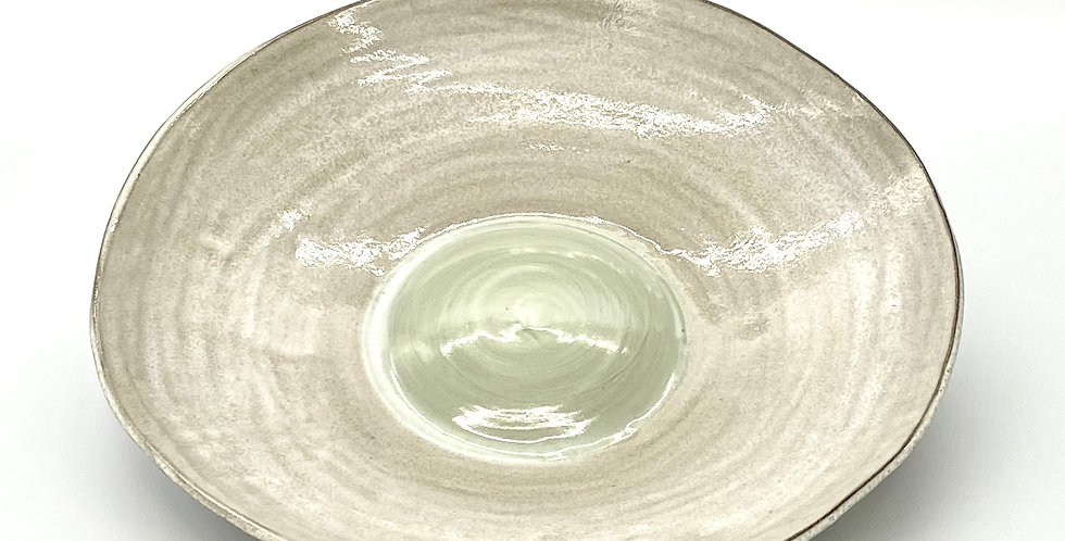 Large Green Milky Shallow Bowl