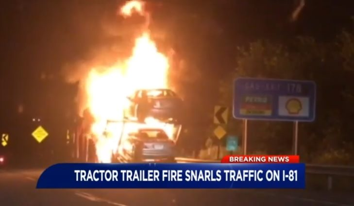 Car Carrier Fire