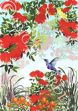 crnew flattened red roses and birds flyi