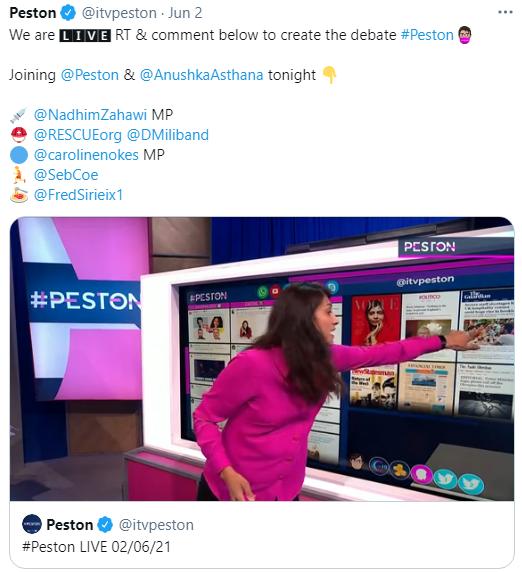 ITV Peston Twitter Never.no Bee-On Live Display