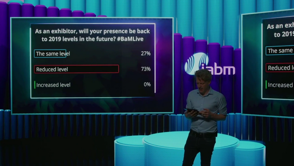 IABM BaMLive polls in virtual studio